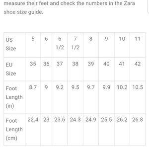 🥿👠Zara Shoe Sizing Chart 👠🥿